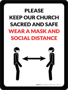 Please Keep Our Church Sacred And Safe - Wear A Mask And Social Distance Portrait - Wall Sign