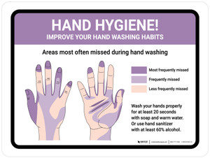 Hand Hygiene - Improve Your Hand Washing Habits Landscape - Wall Sign