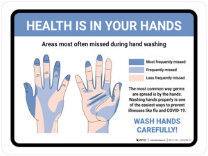 Health Is In Your Hands - Wash Hands Carefully! Landscape - Wall Sign