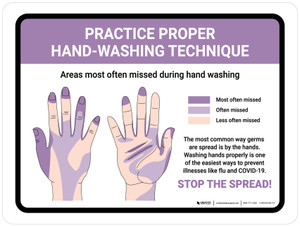 Practice Proper Hand-Washing Technique Landscape - Wall Sign