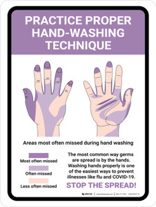 Practice Proper Hand-Washing Technique Portrait - Wall Sign