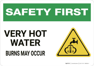 Safety First: Very Hot Water - Wall Sign