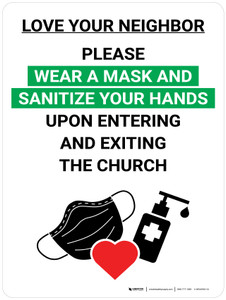 Love Your Neighbor Please Wear a Mask and Sanitize Your Hands in Church with Icon Portrait V2 - Wall Sign