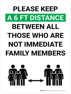 Please Keep a 6 Feet Distance Between All Those Who Are Not Immediate Family Members with Icon Portrait V2 - Wall Sign