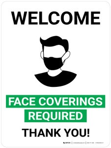 Welcome Face Covering Required - Thank You with Icon Portrait V2 - Wall Sign