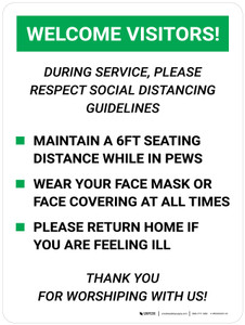 Welcome Visitors During Service Please Respect Social Distancing Guidelines Wall Signs Portrait V2 - Wall Sign