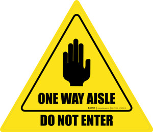 Do Not Enter One Way Aisle with Icon Triangle - Floor Sign