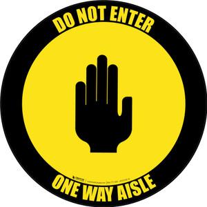 Do Not Enter One Way Aisle with Icon Black Border Circular - Floor Sign