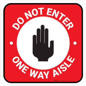 Do Not Enter One Way Aisle with Icon Red Square - Floor Sign
