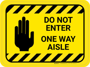Do Not Enter One Way Aisle with Icon Hazard Stripes Rectangle - Floor Sign