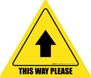 This Way Please Thank You with Arrow Triangle - Floor Sign