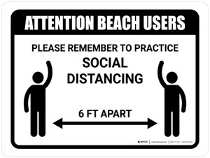 Attention Beach Users Social Distancing Landscape - Wall Sign