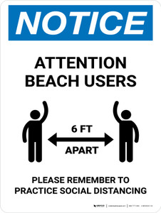 Notice Attention Beach Users Social Distancing Portrait - Wall Sign