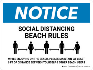 Notice Social Distancing Beach Rules Landscape - Wall Sign