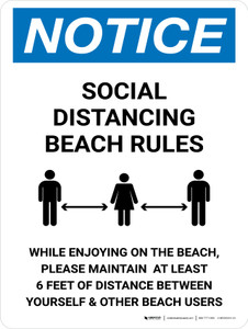 Notice Social Distancing Beach Rules Portrait - Wall Sign