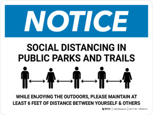Notice Social Distancing In Public Parks And Trails Landscape - Wall Sign
