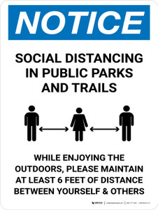 Notice Social Distancing In Public Parks And Trails Portrait - Wall Sign