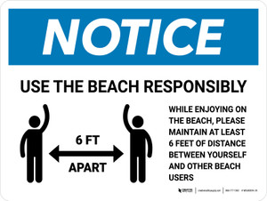 Notice Use The Beach Responsibly Landscape - Wall Sign
