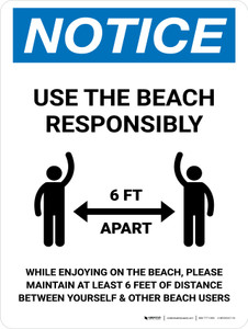 Notice Use The Beach Responsibly Portrait - Wall Sign