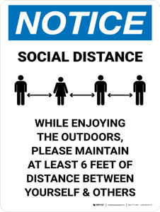 Notice While Enjoying The Outdoors Please Maintain Distance Portrait - Wall Sign