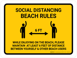 Social Distancing Beach Rules Landscape - Wall Sign