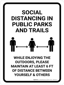 Social Distancing In Public Parks And Trails Portrait - Wall Sign