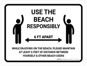 Use The Beach Responsibly Landscape - Wall Sign