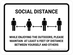 Social Distance While Enjoying The Outdoors Landscape - Wall Sign