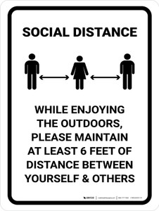 Social Distance While Enjoying The Outdoors Portrait - Wall Sign