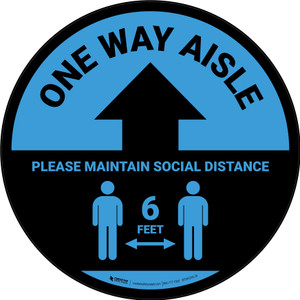 One Way Aisle - Please Maintain Social Distance with Icon Blue Circular - Floor Sign