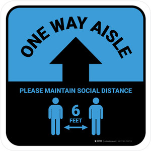 One Way Aisle - Please Maintain Social Distance with Icon Blue Square - Floor Sign