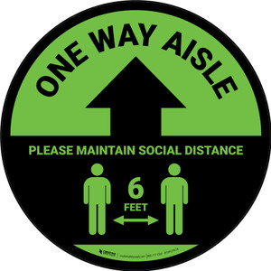 One Way Aisle - Please Maintain Social Distance with Icon Green Circular - Floor Sign