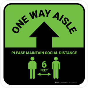 One Way Aisle - Please Maintain Social Distance with Icon Green Square - Floor Sign