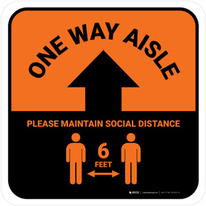 One Way Aisle - Please Maintain Social Distance with Icon Orange Square - Floor Sign