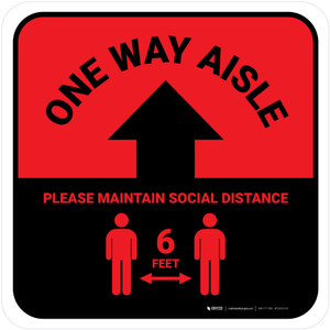 One Way Aisle - Please Maintain Social Distance with Icon Red Square - Floor Sign
