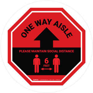 One Way Aisle - Please Maintain Social Distance with Icon Stop Circular - Floor Sign