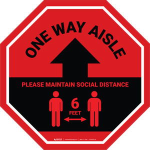 One Way Aisle - Please Maintain Social Distance with Icon Stop - Floor Sign