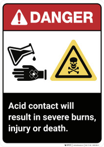 Danger: Acid Contact ANSI - Wall Sign