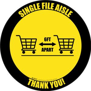 Single File Aisle with Shopping Carts Black Border Circular - Floor Sign