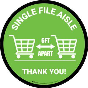 Single File Aisle with Shopping Carts Green Circular - Floor Sign