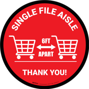 Single File Aisle with Shopping Carts Red Circular - Floor Sign