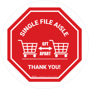Single File Aisle with Shopping Carts Stop Circular - Floor Sign