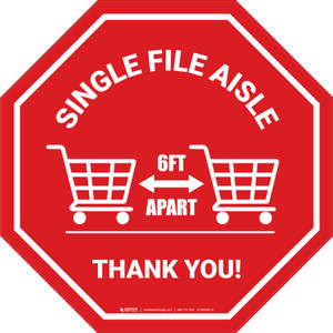 Single File Aisle with Shopping Carts Stop - Floor Sign