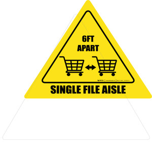 Single File Aisle with Shopping Carts Triangle - Floor Sign