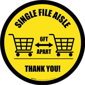 Single File Aisle with Shopping Carts Yellow Circular - Floor Sign