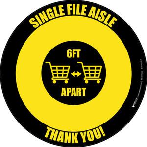 Single File Aisle with Shopping Carts Yellow/Black Circular - Floor Sign