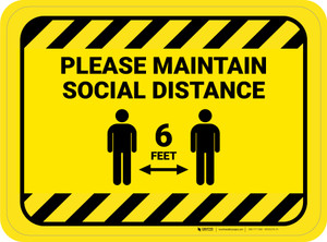 Please Maintain Social Distancing with Icon Hazard Stripes Rectangle - Floor Sign