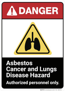 Danger: Asbestos Cancer And Lung Disease Hazard ANSI - Wall Sign