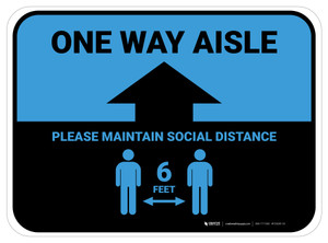 One Way Aisle - Please Maintain Social Distance with Icon Blue Rectangle - Floor Sign