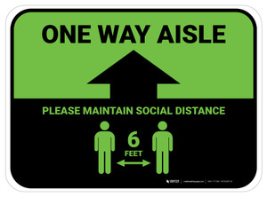 One Way Aisle - Please Maintain Social Distance with Icon Green Rectangle - Floor Sign